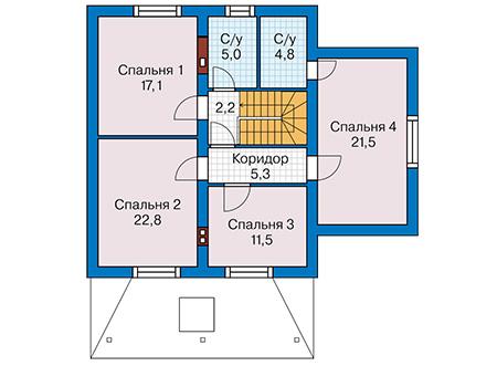 План мансардного этажа :: Проект 59-68